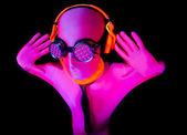 Neon glow suit man — Stock Photo
