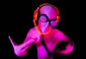 Neon glow suit man — Stock Photo