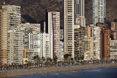 The coast and high rise skyline of benidorm — Stock Photo