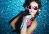 Sexy disco dancer in bikini — Stock Photo