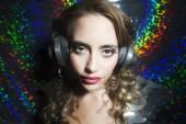 Beautiful sexy disco dj woman in silver costume — Stock Photo