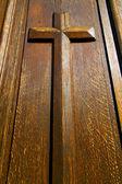 Castellanza blur lombardy  a    curch  closed wood  cross — Stock Photo