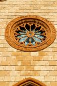 Church varese the old door entrance and mosaic sunny daY rose windo — Foto de Stock