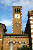 Legnano old abstract in    wall  and church tower bell   day  — Stok fotoğraf