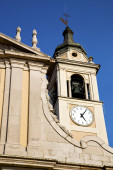 Castano primo      wall  and church tower bell sunny day  — Stok fotoğraf