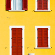 Red window varano borghi sunny day wood in the concrete b — Stock Photo #57276223