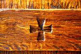 Legnano abstract   rusty brass brown knocker   — Stock Photo