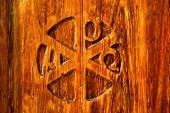 In legnano    brass brown knocker a — Stock Photo