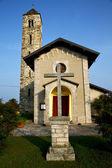 Barzola eski kilise tuğla kule kapalı — Stok fotoğraf