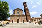 W Torino stary kościół zamknięty wieża Włochy chodniku lo — Zdjęcie stockowe