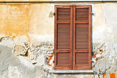 Varano borghi palaces italy     wood venetian blind in the con — Stock Photo