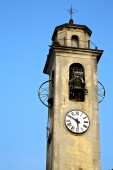 Brebbia old abstrac l  and church tower bell sunny day  — Stock Photo