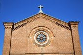 Rose window  italy  lombardy     in  the castellanza  old   chur — Stock Photo