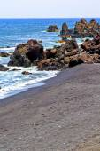 Hervideros brown rock in white coast   water   summer  — Stock Photo