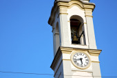 In gorla    the   wall  and church tower  sunny day  — Stock Photo