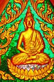 Siddharta   in the temple bangkok asia   thailand green — Stock Photo