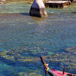 blue lagoon  stone in thailand kho tao bay abstract of a pier b — Stock Photo #67481325
