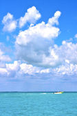 Boat  wave   mexico froath and blue   — Stock Photo
