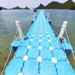 Plastic pier  coastline of a  green    south china sea thailand — Stock Photo #78715254