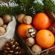 Xmas decoration wih tangerines, nuts and pine tree twigs — Stock Photo #61929605