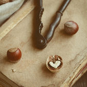 Decoration with nutcracker, heart shaped nut and old books — ストック写真