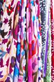 Set of pattern scarves hanging at oriental bazaar — Stock Photo