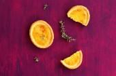 Lemon tartlets dessert with thyme — Stock Photo