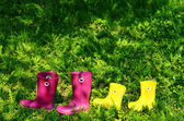 Rubber boots for woman and kid in green summer grass — Stock Photo
