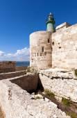 Green lighthouse (Castello Maniace in Syracuse, Ortygia, Sicily) — Stock Photo