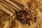 Cinnamon sticks, ground cinnamon and  star anise — Fotografia Stock