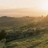 Paesaggio e il tramonto. Toscana, Italia — Foto Stock