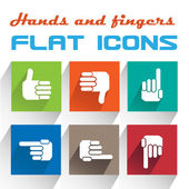 Vector Application hands Icons Set in Flat Design with Long Shadows — Stock Vector