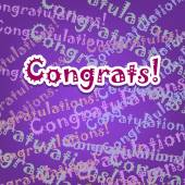 Congrats card with typo design on purple — Stock Vector