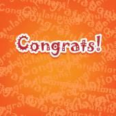 Congrats card with typo design on orange — Stock Vector