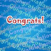 Congrats card with typo design on blue — 图库矢量图片