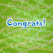 Congrats card with typo design on green — Stock Vector
