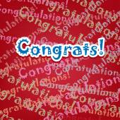 Congrats card with typo design on red — Stock Vector