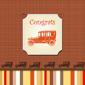 Congrats card with stripes and old cars — Stock Vector