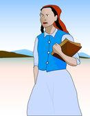Village school girl going to school — Stock Vector