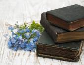 Forget-me-nots flowers and old books — Stock fotografie