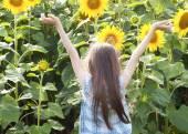 Krásné dítě s slunečnice — Stock fotografie