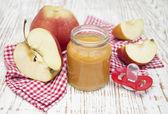 Apples puree in jar — Stock Photo