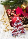Christmas Decoration in box — Stock Photo