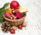 Christmas Decoration in basket — Stock Photo