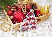 ボックスでクリスマスの装飾 — ストック写真