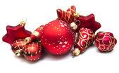 Christmas ornaments on white — Stock Photo