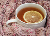 Cup of hot tea with lemon and scarf — Stock Photo