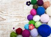Color woolen clews — Stock Photo