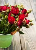 Red roses in bucket — Stock Photo