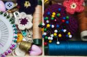 Thread and material for handicrafts in box — Stock Photo